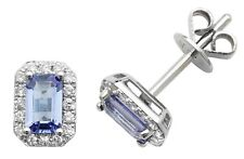 9ct White Gold Tanzanite and Diamond Earrings NEW
