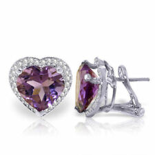14K White Gold Heart Amethyst Diamond Earrings (6.48 ct)