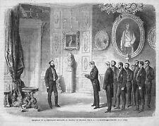 "MIRAMAR ITALIA "" RECEPTION DEPUTES MEXIQUE MEXICO "" GRAVURE ENGRAVING 1864"