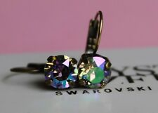 Antique Brass Paradise Shine Leverback Earrings with Swarovski Crystal Elements