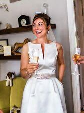 Crystal/Diamante Boat Neck A-line Sleeveless Wedding Dresses