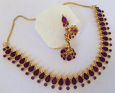 BEAUTIFUL BRIDAL Kundan purple stone Necklace set with Earring 1057p