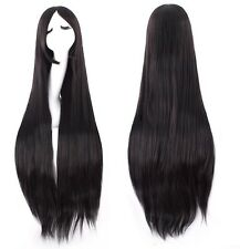 """Black Long Straight Cosplay Costume Party Wig heat resistant Full Hair 100CM 40"""""""