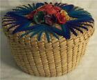 Vintage+ATTACHED+LID+Sewing+Basket+STRAW+FLOWERS+Yarn+Design