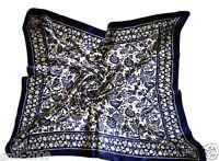 Vintage Women's Blue Flower Pattern 100% Silk Large Square Scarf Wrap Shawl
