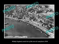 OLD LARGE HISTORIC PHOTO OF WHITBY ENGLAND VIEW OF THE TOWN & WATERFRONT 1930 4