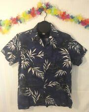 Hawaiian Shirt RJC Cotton Dark Blue Island Palm Trees Size L Luau Party