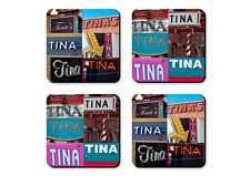 Personalized Coasters featuring the name TINA in photos of signs - Set of 4