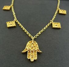"Scottish Ola Gorie Classic Khamsa 9ct Yellow Gold Pendant 16"" Chain"