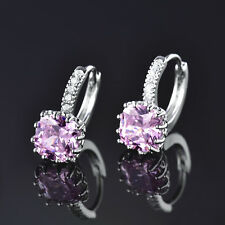 HUCHE Square Pink Sapphire Crystal White Gold Filled Women Diamond Hoop Earrings