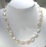 "Elegant 11-12mm Natural White Freshwater Baroque Pearl Necklace 18"" AAA"