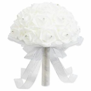 Wedding Bouquet Artificial Flowers & Removable Handle, White & Sliver, 9 x 12 in