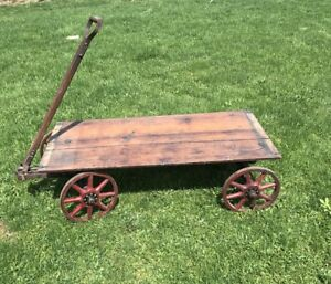 Antique Ball Bearing Coaster Wagon, Red Wood Spoke Wheels , Stamped