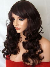Black Plum Ladies women Curly real natural party Costume Adult Wig B19