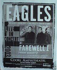 """Eagles 2003 """"Fairwell 1 Tour"""" San Diego Concert Poster -Henley,Frey,Walsh,Schmit"""
