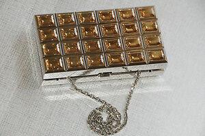 Judith Leiber Chocolat Barre Minaudière Sac Argent or Jaune Cristaux