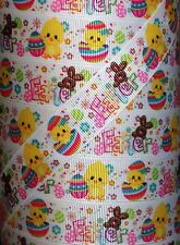 "5 yds 7.8"" EASTER CHICK BUNNY EGGS GROSGRAIN RIBBON 4 HAIRBOW"
