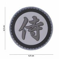 3D PVC morale patch Samurai Warrior airsoft hoop and loop grey