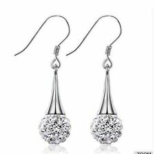 Sterling Silver Made With Swarovski Crystal Disco Ball Dangle Drop Earrings Box