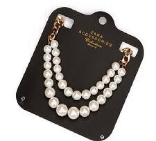 N762 Zara Shimmering Pearl Ribbon Brides Wedding Victorian Beaded Necklace US