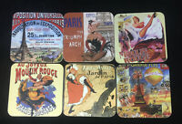 Set of 6 Cork Back Coasters Paris Scenes Chat Noir Moulin Rouge Eiffel Tower