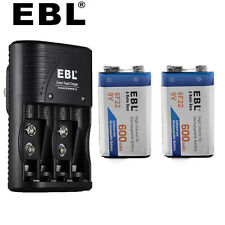 2x EBL 6F22 9V 600mAh Li-ion Rechargeable Battery+9 Volt AA/AAA Battery Charger