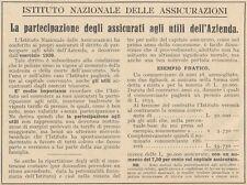 Z1231 Istituto Nazionale delle Assicurazioni - Pubblicità d'epoca - 1932 Old ad