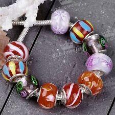 10pcs Murano Lampwork Glass Colorful European Bead Fit Charms Chain Bracelet DIY