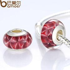 Fresh Red European Lampwork Murano Beads Glass Fitting Charm P Bracelet Jewelry
