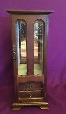 wooden jewelry box mirrored glass door 16 inches high , 6 1/4 in long Vintage