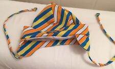 Baby Bonnet Flap Hat Striped Bright Colors Boys 9 Month NEW