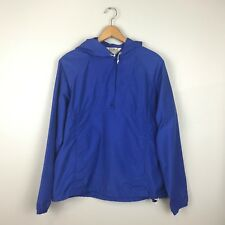 Women's LL Bean Hooded Jacket Blue Anorak Windbreaker Pouch Pocket VTG USA M