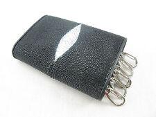 Genuine Stingray Skin Keychains Key Holder Ring Trifold Wallet Black + Free Ship