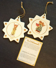 Pair 1997 Hummel Publishers Clearing House Porcelain Star Goebel Angel Ornaments