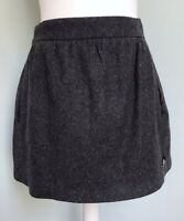 SUPERDRY Charcoal Grey Wool Rich Flared Skirt S UK 8 10 Side Pockets Lined Work