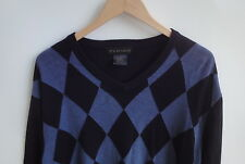 Men's F/X FUSION Black/Blue V-Neck Sweaters Size-L