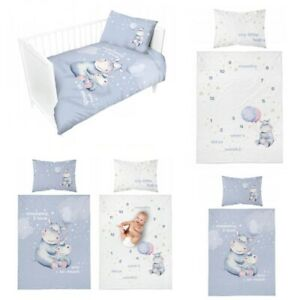 Baby Bedding Cover Set Children To Grib Two-Sided 100x135 Bamboo Hippo Blue