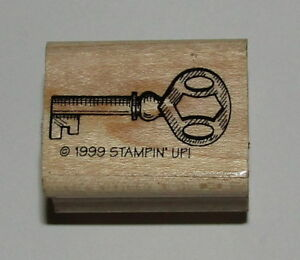 """Key Rubber Stamp Stampin Up Wood Mounted Retired Design 1.25"""" Long"""