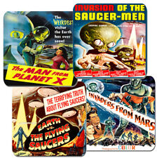 Classic 50's Sci Fi Space Movie Film Poster Coasters Set Of 4. High Quality Cork