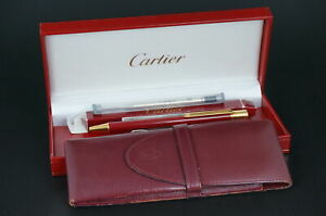 Cartier Ballpoint pen  Must Bordeaux Gold w/Box & New refill & Case #CB01