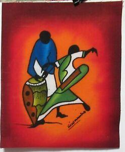 KIWANUKA NAIROBI AFRICAN DANCER ORIGINAL BATIK PAINTING KENYA ARTIST