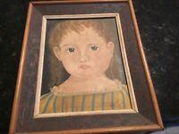 Folk Art Child/Girl portrait oil on canvas stretched & Framed signed  Krantz