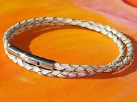 Ladies 3mm Light Silver leather & stainless steel bracelet by Lyme Bay Art