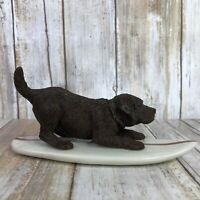 Sandicast Sandra Brue Chocolate Labrador Surfing Dog Figurine Animal Collectible