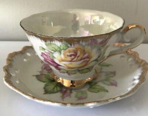 VINTAGE  Lustre Teacup And Saucer Set From Japan