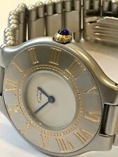 Must de Cartier '21' Two-Two 31mm Stainless Steel Gold Quartz Watch