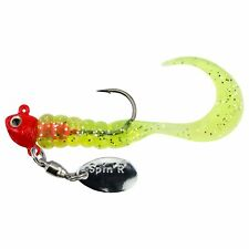 "Johnson Spin'R Grubs 2"" - 1/8oz - Red/Chartreuse, Bass Yellowbelly Trout Lure"