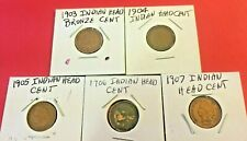 "1904-1905-1906-1907-1908 Indian Head Cent ""5"" Coin Lot"