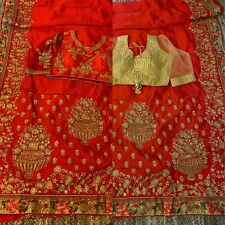 embroidery red bridal, party wear heavy high quality saree with readymade blouse