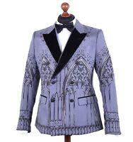 DOLCE & GABBANA RUNWAY 3-Teile Anzug mit Gotik-Print Blazer Weste Seide 04121